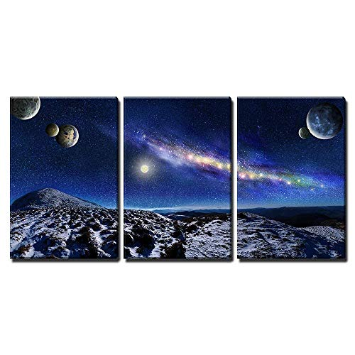 Night space landscape Milky way galaxy and planets over mountains x3 Panels