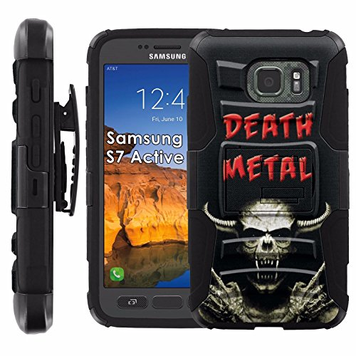 Click to buy Samsung Galaxy [S7 Active] Armor Case [Mobiflare] [Black/Black] Armor Phone Case [Screen Protector INCLUDED] - [Death Metal Skull] - From only $15.95