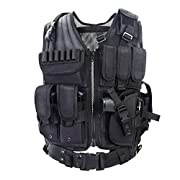 Amazon Lightning Deal 68% claimed: YAKEDA® Army fans Tactical Vest CS Field Outdoor Equipment Supplies Breathable lightweight tactical vest SWAT Tactical Vest Special Forces combat training vest--VT-1063(black)