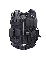 YAKEDA® Army fans Tactical Vest CS Field Outdoor Equipment Supplies Breathable lightweight tactical vest SWAT Tactical Vest Special Forces combat training vest--VT-1063(black)