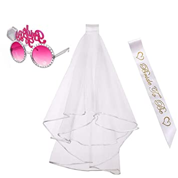 Formwin - Velo de boda con peine, banda y gafas para despedidas de ...
