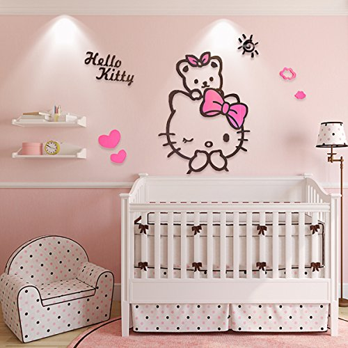EKEA-Home Creative KT Cat Hello Kitty Wall Sticker Acrylic Children Room 3D Cartoon Adornment Bedroom Nursery Wall Mural Decals Kt,100x88cm/39.4