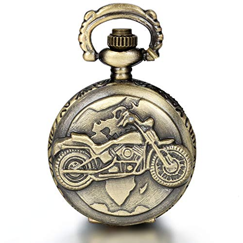 JewelryWe Fathers Day Gifts Vintage Bronze Motorcycle Motorbike Moto Pocket Watch Antique Necklace Pendant 31.5 Inch Chain Mens Gift (with Gift Bag) from JewelryWe