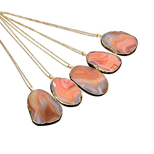 Napoo 1PC Natural Stone Crystal Rock Necklace Gold Plated Quartz Pendant (Orange)