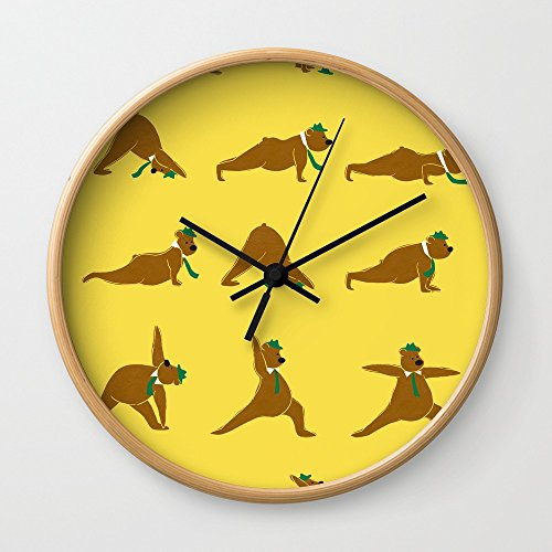Society6 Yoga Bear - Classic Wall Clock Natural Frame, Black Hands -