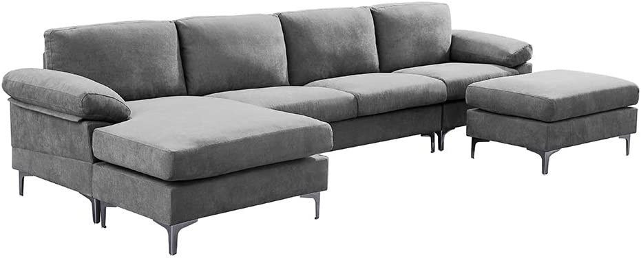 HOMMOO Convertible Sectional 4-Seat Sofa with Removable Ottoman and Seat Cushion, L-Shaped Couch Set with Modern Linen Fabric Chaise Lounge for Living Room,Apartment and Small Space (Light Grey)