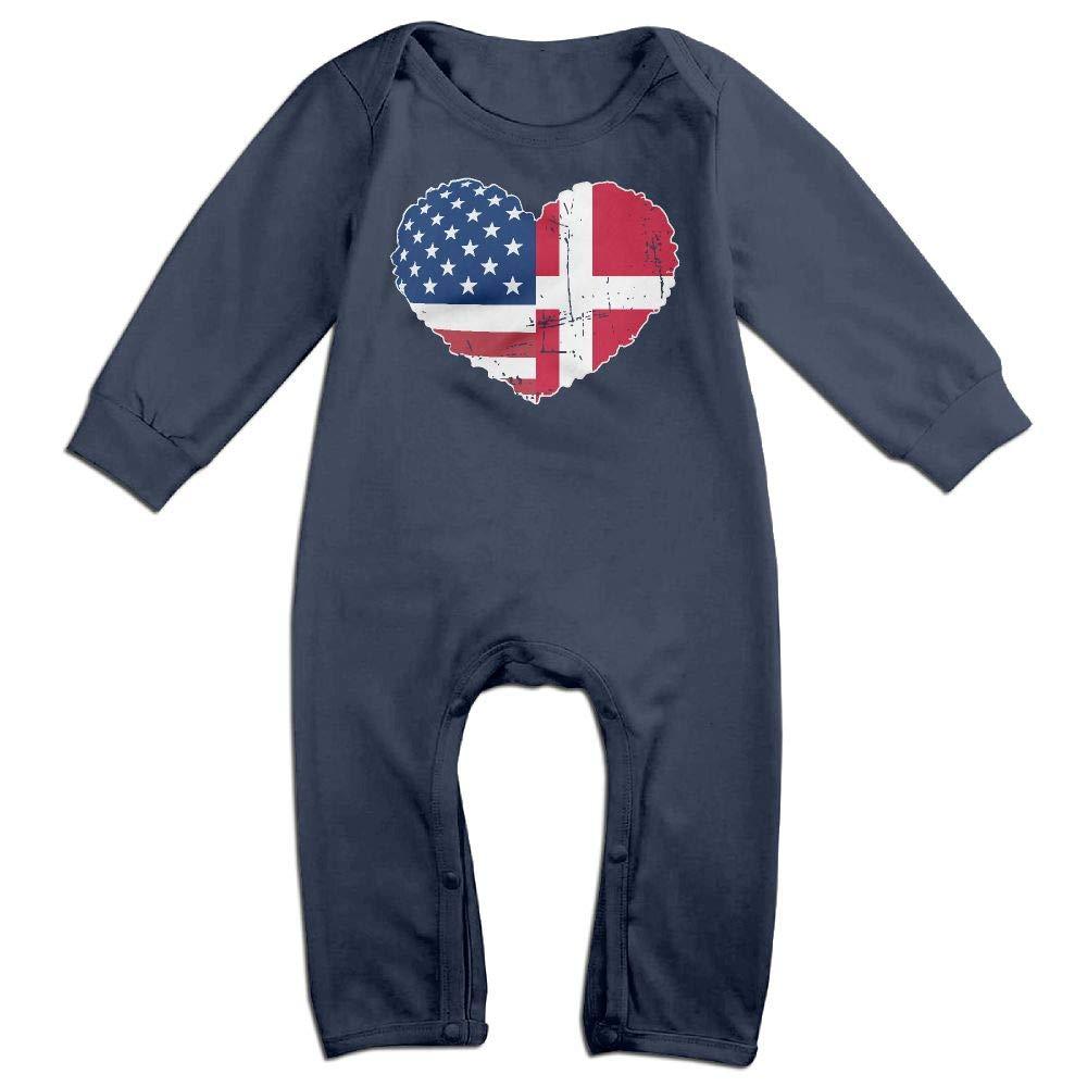 Mri-le1 Baby Girl Jumpsuit Denmark USA Flag Heart Baby Clothes