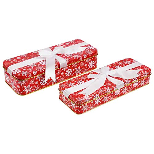 Christmas Cookie Tins With Lids For Gift Giving Empty Candy Treat Swap Containers Snack Exchange Boxes Ginger Snaps Cerebrate a Holiday Goodie Party Favors Box 2 Pack Red Rectangular Shape Snowflakes