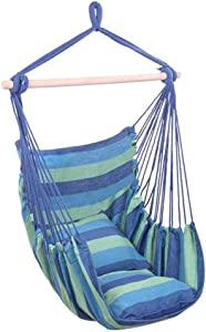 Hanging Chair Hammock Chair Porch Swinging Chair Hanging Chairs Outdoor Blue Stripes Distinctive Cotton Canvas Hanging Rope Chair Hammock Indoor Bedroom Decor for Teen Girls (Color : Blue)
