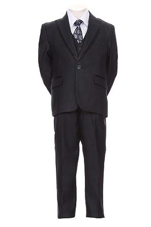 Boys Toddler Kid Teen 5-Pc Formal Medium Grey//Black Dress Suit w// Vest Sz 2-20