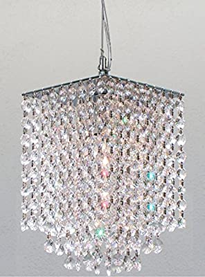 """Modern Contemporary Crystal Pendant Chandelier Lighting H 9"""" X W 6"""" Dressed with Diamond Cut Crystal!"""