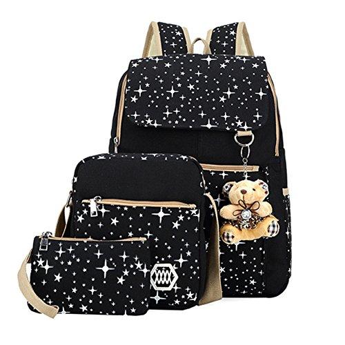 Benry Cute Backpack Sets Canvas Kids Backpacks Back to School Backpacks Bookbags for teen (Black Elementary School)