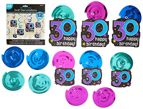 30th Celebration Value Pack Foil Swirl Decorations, Birthday -