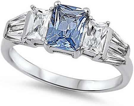 Cubic Zirconia Three Stones Princess Center Ring Sterling Silver (Color Options, Sizes 4-12)