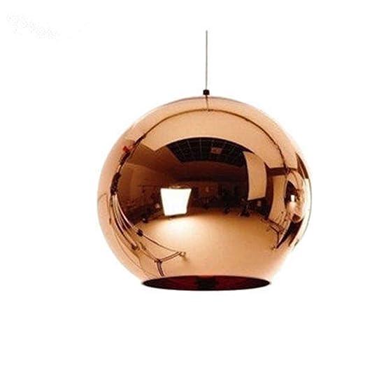 Joeyhome Globus Kupfer Farbe Glas Spiegel Kugel Pendelleuchte