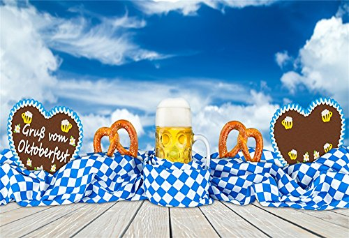 LFEEY 5x3ft October Festival Backdrop for Photography Blue Sky Full Glass of Beer Pretzel Gingerbread Heart Bavarian Flag Oktoberfest Carnival Beerfest Background for Photos Studio Prop