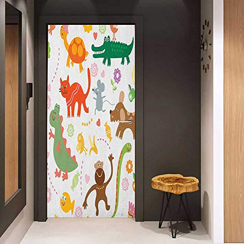 Door Sticker Boys Jolly Cartoon Animals Colorful Flowers and Hearts for Cheerful Babies and Children Glass Film for Home Office W23 x H70 Multicolor