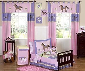 sweet jojo designs 5 piece pretty pony horse toddler bedding girls set - Toddler Bedding For Girls