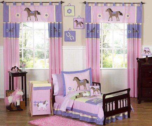 Sweet Jojo Designs 5-Piece Pretty Pony Horse Toddler Bedding Girls - Crib Set Pony
