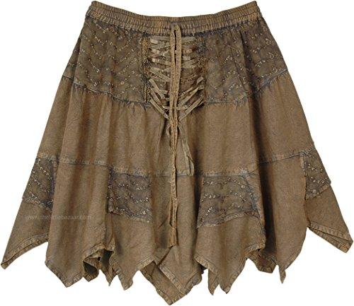 - TLB Asymmetrical Hem Short Boho Skirt in Murky Green - L:17
