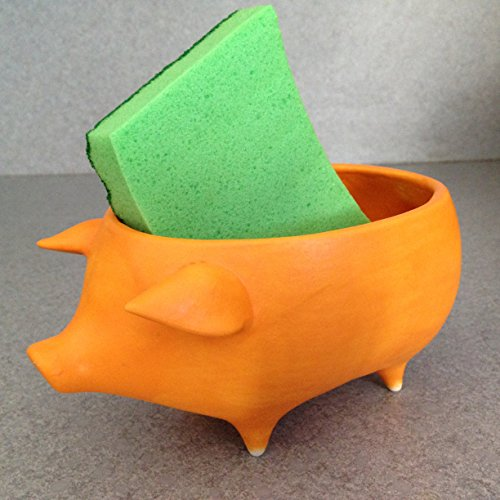 Kitchen gift set. Vintage ceramic pig planter, Scrubby and gift box Orange peel glaze no eyes no drain Retro style flower pot, spoon holder, scrubby holder Eye Ceramic Salt
