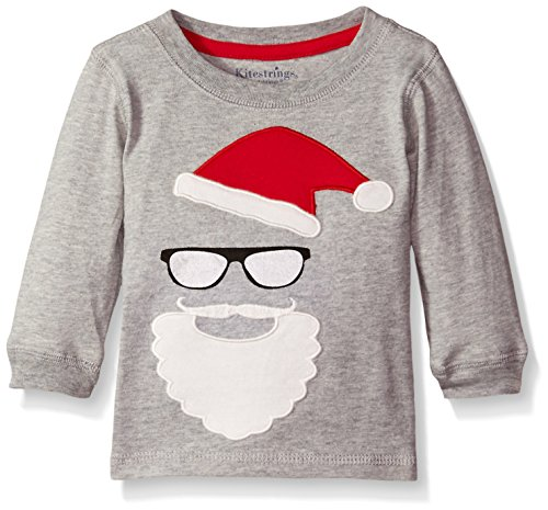 (Hartstrings Baby Boys' Knit Jersey Santa Tee, Grey Heather 6-9 Months)