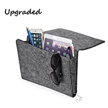 [UPGRADED] Thicker Bedside Caddy, Bed Caddy Storage Organizer Home Sofa Desk Felt Bedside Pocket with Cable Holes 2 Small Pockets for Organizing Tablet Magazine Phone Small Things Holder (Gray)