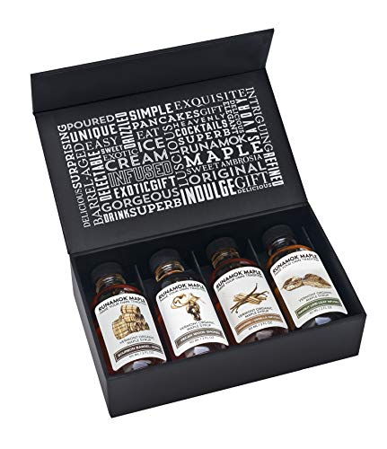 Runamok Maple, Sugarmaker's Small Maple Syrup Gift Box, 2 oz (4 count), 60mL, Barrel Aged, Infused and Smoked Organic Maple Syrup Varieties