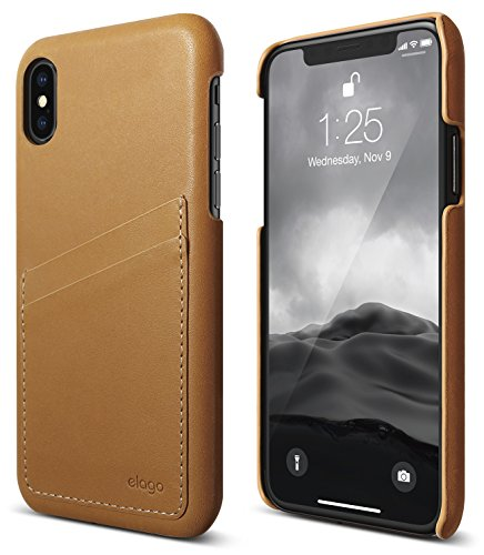 elago Genuine Leather Series for iPhone XS case, iPhone X Case - Authentic Italian Leather Personalized Wallet Protective Cover for Apple iPhone XS (2018) iPhone X (2017) - Brown