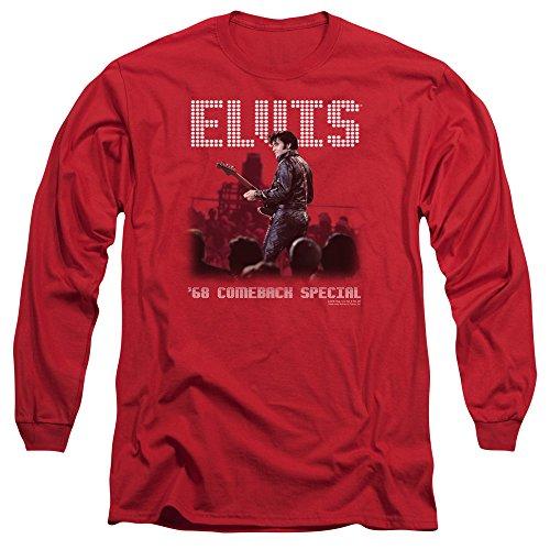Elvis Presley The King Rock Return Of The King Adult Long Sleeve T-Shirt Tee Red ()
