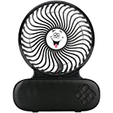 Bluetooth Speaker Fan, WaterLuu Mini Fan Speaker , USB Portable Fan & Bluetooth Music Player - 3 Adjustable Speed Level- with Rechargeable 2200mA Battery for Home and Travel, Black
