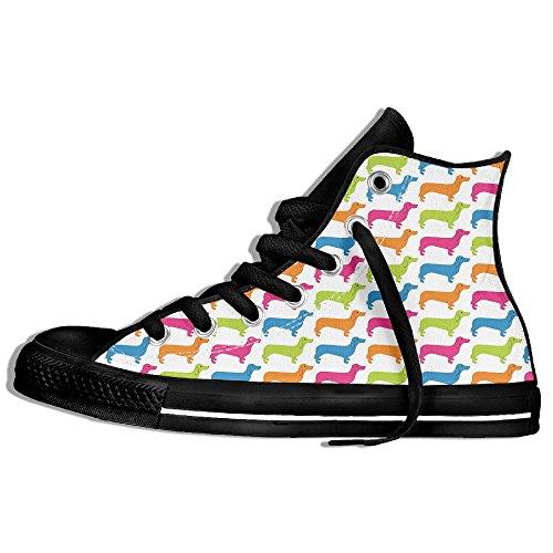 Classiche Sneakers Alte Scarpe Di Tela Antiscivolo Cane Colorato Casual Da Passeggio Per Uomo Donna Nero