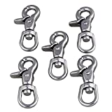 CNBTR Silver Multi-Purpose 304 Stainless Steel Swivel Snap Hook Lobster Clasps Prevent Tangles Set of 5