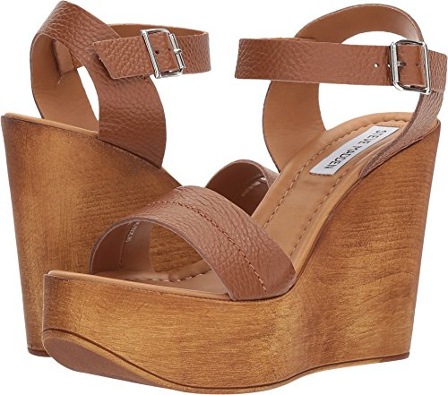 Shoes Leather Tan Heels Wedge (Steve Madden Women's BELMA Wedge Sandal, tan Leather, 9 M US)