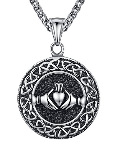 Men's Stainless Steel Celtic Knot Claddagh Friendship Endless Love Pendant Necklace, 24