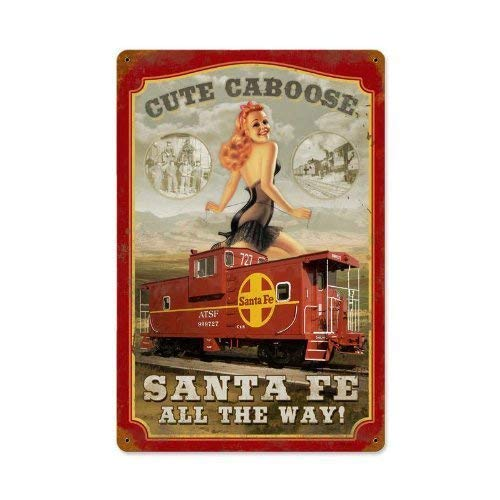 Sante Fe Caboose Vintage Metal Sign Railroad Pin Up Girl Steel TIN Sign 7.8X11.8 INCH