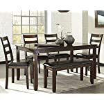 Signature Design by Ashley Coviar Dining Room Table and Chairs with Bench (Set of 6)