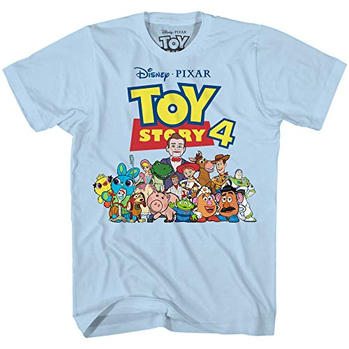 (Disney Pixar Toy Story 4 Team Toy Poster Woody Buzz Bo Peep Movie Disneyland World Tee Funny Humor Men's Graphic T-Shirt (Light Blue, XX-Large))