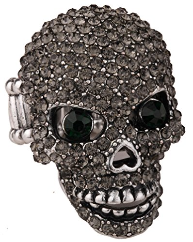 (YACQ Women's Skull Stretch Rings with Moving Jaw Biker Costume Jewelry Silk Scarf Clasp Buckle)