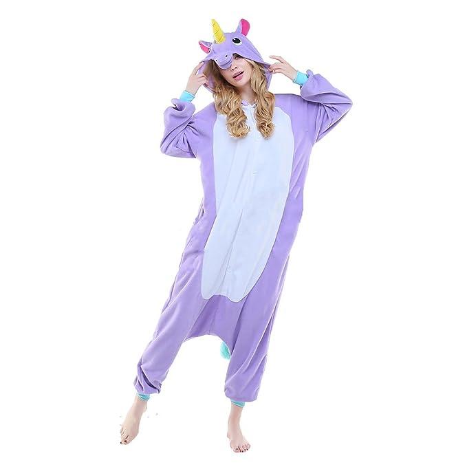 M&A Pijamas Cosplay Unicornio Franela para Disfraz Mujer Hombre y Pareja Carnaval Hallowen Ropa de dormir