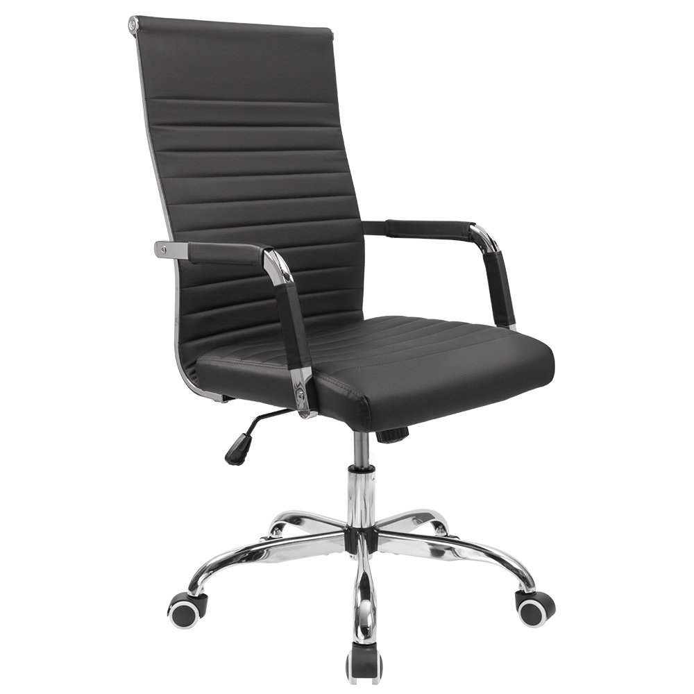 Furmax Ribbed Office Desk Chair Mid-Back Leather Executive Conference Task Chair Adjustable Swivel Chair with Arms (Black)