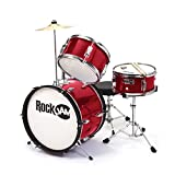 RockJam RJ103-MR 3-Piece Junior Drum Set with Crash Cymbal, Adjustable Throne & Accessories, Metallic Red