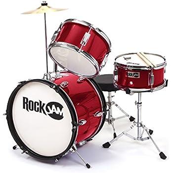 RockJam RJ103-MR 3-Piece Junior Drum Set with Crash Cymbal, Adjustable Throne & Accessories, Metallic Red