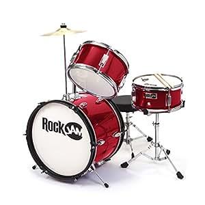 rockjam rj103 mr 3 piece junior drum set with crash cymbal adjustable throne. Black Bedroom Furniture Sets. Home Design Ideas