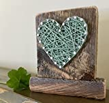 Sweet & small freestanding wooden aqua string art heart sign. Perfect for Father's Day, home accents, Wedding favors, Anniversaries, nursery decoration and just because gifts by Nail it Art.