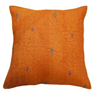 """Orange Floral Pattern Cushion Cover 58 Cm Pillow Cover Silk Fabric Pillow Case Throw 23"""" Gift"""