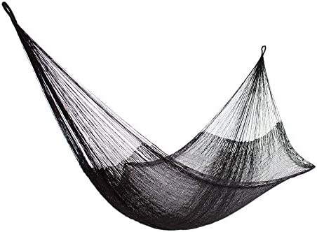 NOVICA Black Hand Woven Nylon Mayan 1 Person Rope Hammock