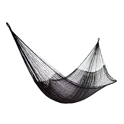 NOVICA 278202 Mayan Hammock Black Relaxation-Single - Nylon, Steel S-hooks Steel S-hooks Not weather resistant - patio-furniture, patio, hammocks - 510yYkYFBNL. SS400  -