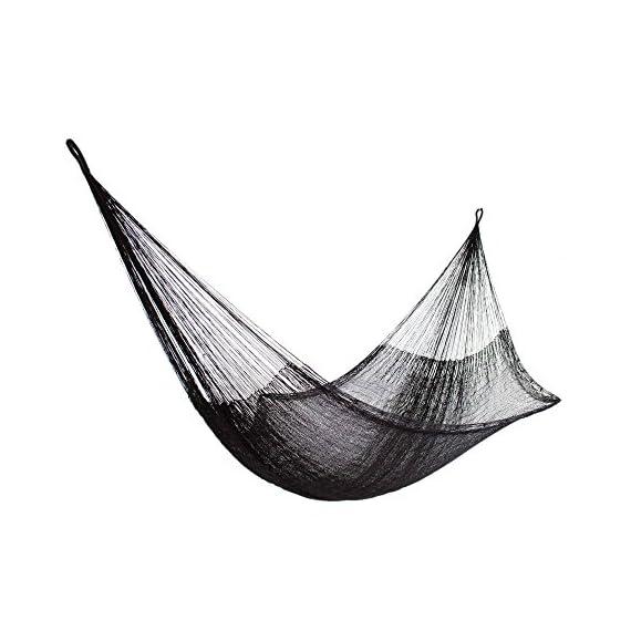 NOVICA 278202 Mayan Hammock Black Relaxation-Single - Nylon, Steel S-hooks Steel S-hooks Not weather resistant - patio-furniture, patio, hammocks - 510yYkYFBNL. SS570  -