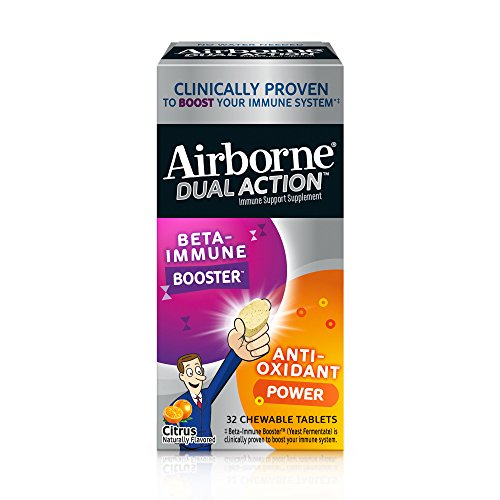 Airborne Dual Action Citrus Chewable Tablets, 32ct - 1000mg of Vitamin C - Beta Immune Booster and Anti Oxidant